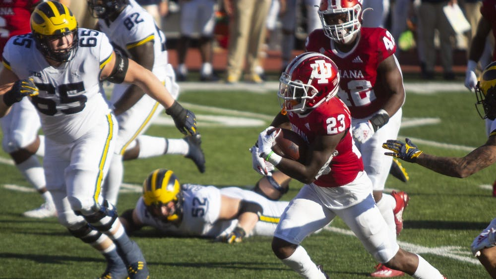 Junior defensive back Jaylin Williams catches an interception Nov. 7 at Memorial Stadium. Williams' interception was one of two for the IU defense in the victory over Michigan.