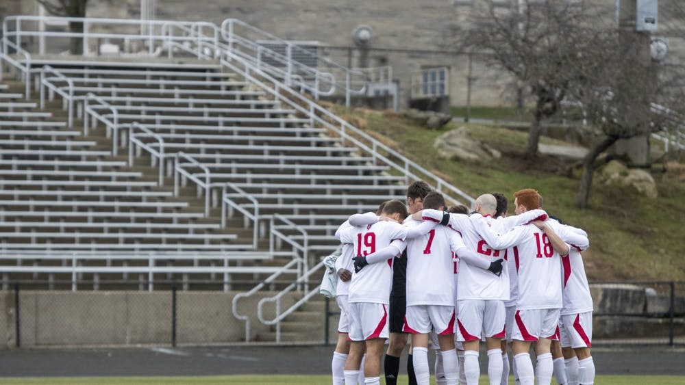 IU men's soccer starters huddle before the game Monday at Bill Armstrong Stadium. The Hoosiers won 3-0 against Rutgers on Friday in Piscataway, New Jersey.
