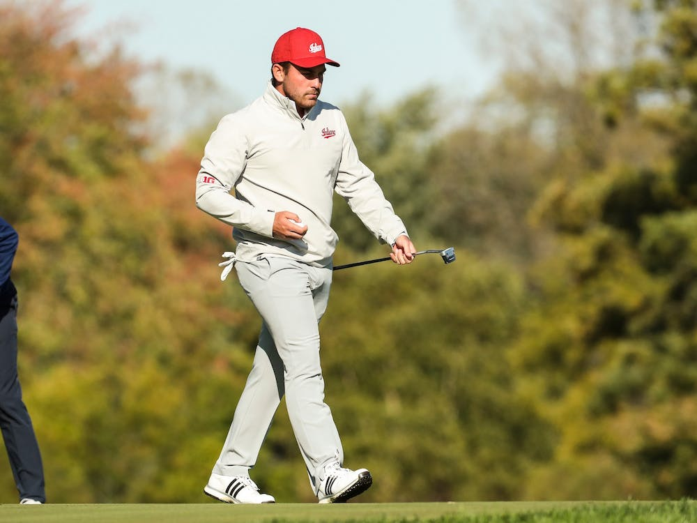 Brock Ochsenreiter walks after hitting a shot in 2019 at the Crooked Stick Invitational at Crooked Stick Golf Course in Carmel, Indiana. Ochsenreiter was named Academic All-Big Ten during his junior season.