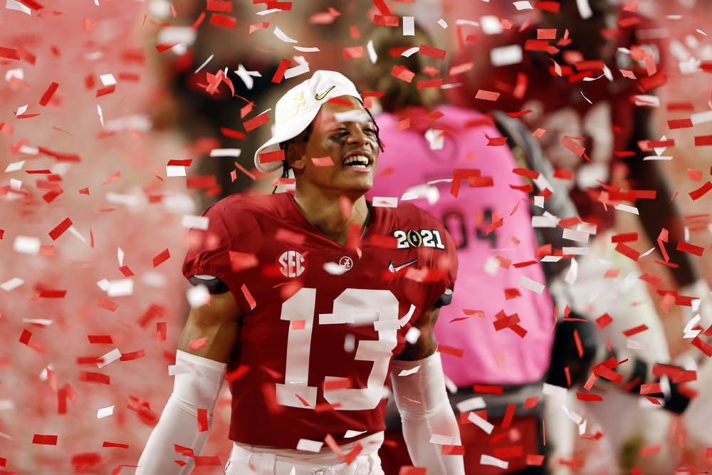 <p>University of Alabama freshman defensive back Malachi Moore celebrates following the College Football Playoff National Championship game win over the Ohio State Buckeyes on Monday at Hard Rock Stadium in Miami Gardens, Florida. No. 1 Alabama defeated No. 3 Ohio State 52-24.</p>