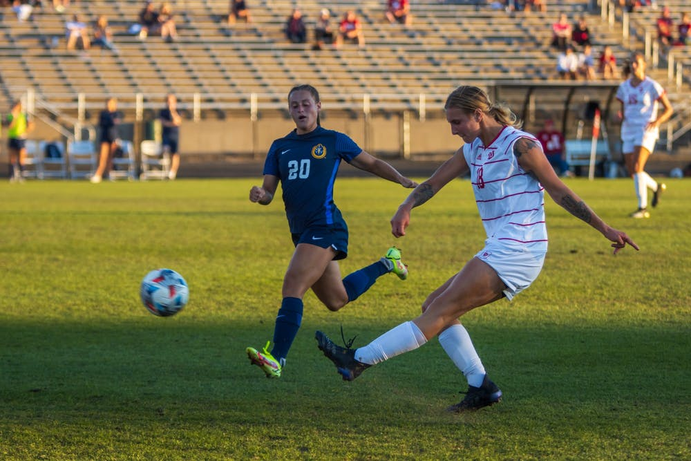 <p>Senior defender Oliwia Wos kicks the ball Sept. 9, 2021, at Bill Armstrong Stadium. Wos assisted on junior midfielder Megan Wampler&#x27;s goal to give Indiana a 1-0 win over Northwestern on Friday night.</p><p></p>