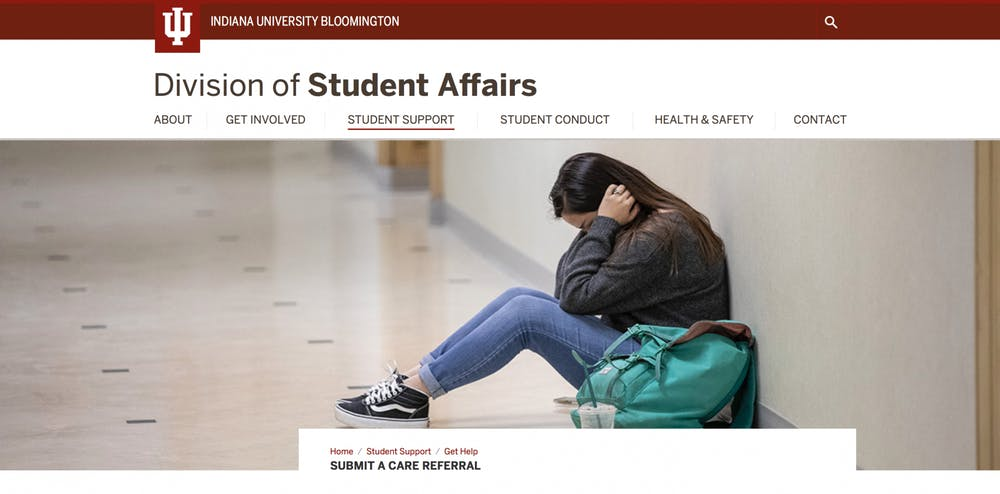 <p>A screenshot shows the Division of Student Affairs website.</p>
