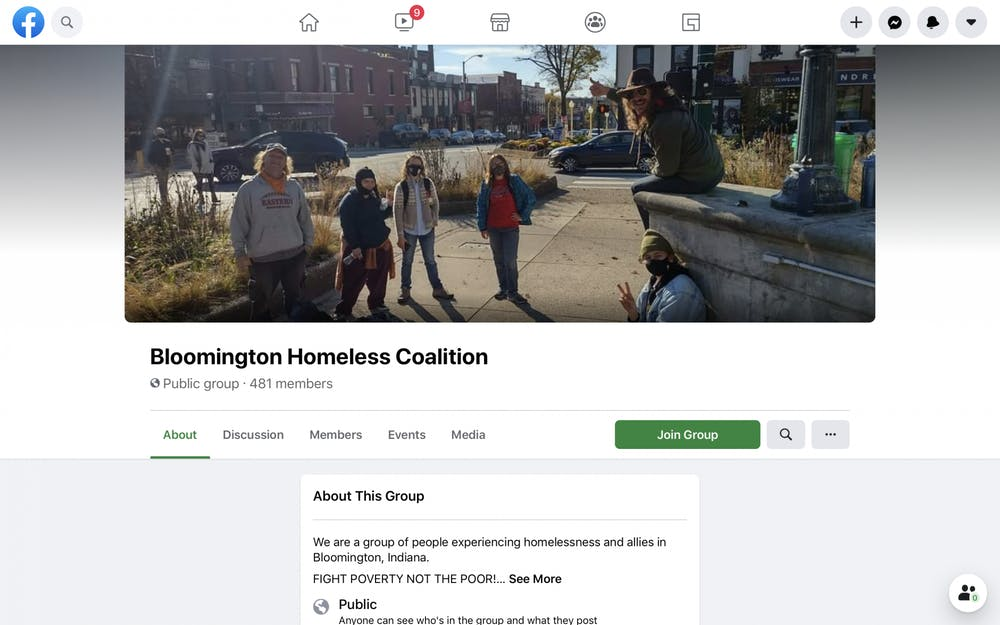 <p>A screenshot of the Bloomington Homeless Coalition Facebook page.</p>