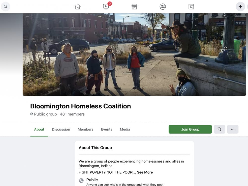 A screenshot of the Bloomington Homeless Coalition Facebook page.