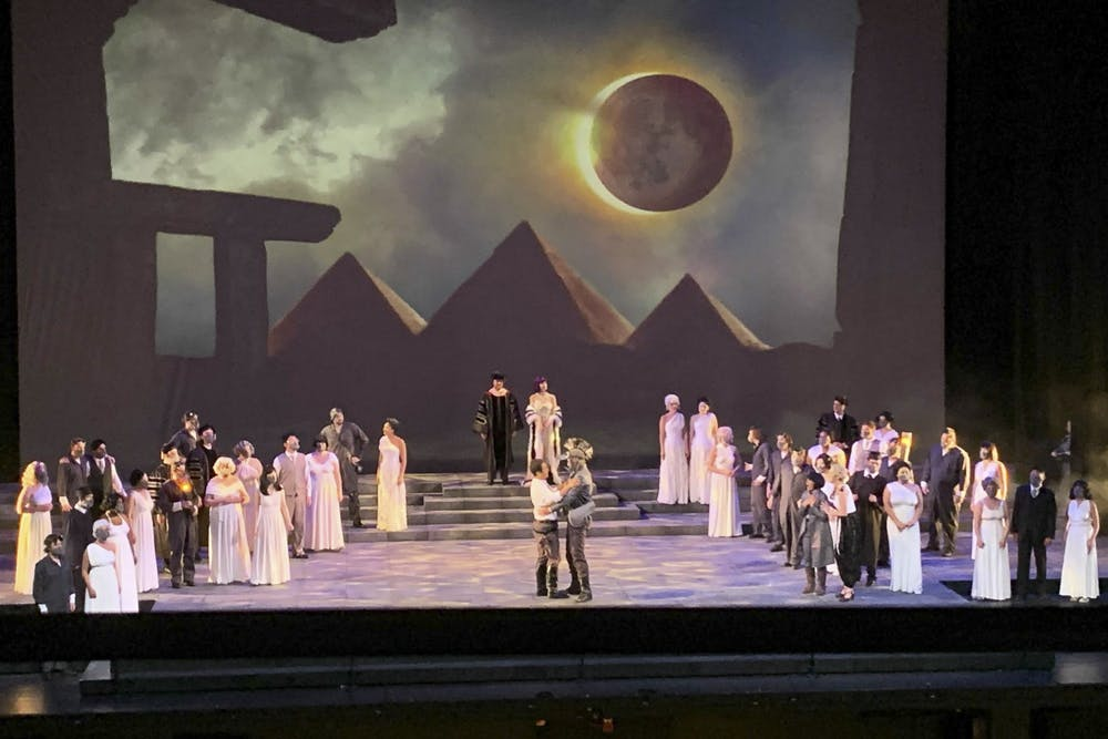 <p>Opera singers perform Mozart&#x27;s &quot;The Magic Flute&quot; during a rehearsal Sept. 15, 2021, on stage of the Musical Arts Center.</p>