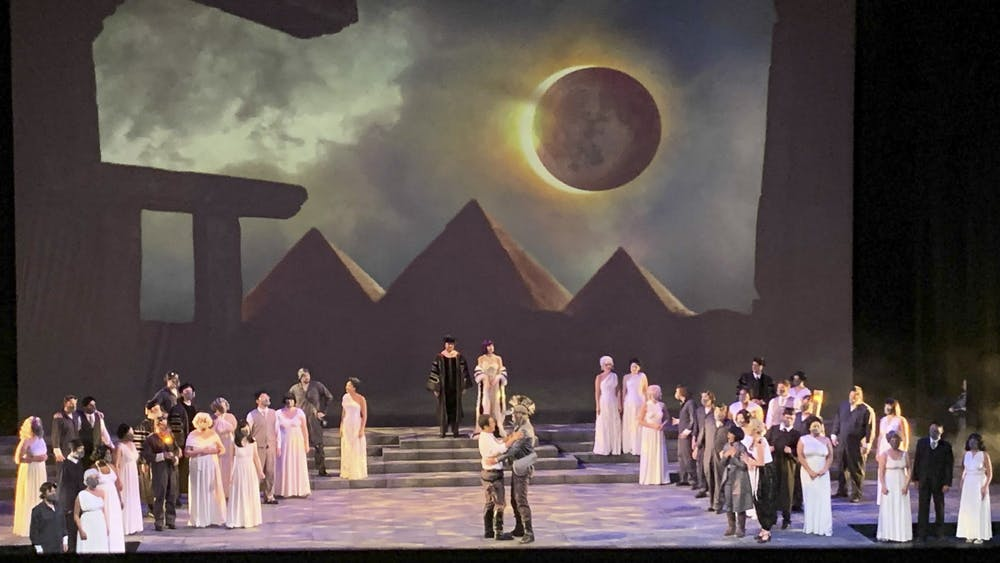 """Opera singers perform Mozart's """"The Magic Flute"""" during a rehearsal Sept. 15, 2021, on stage of the Musical Arts Center."""