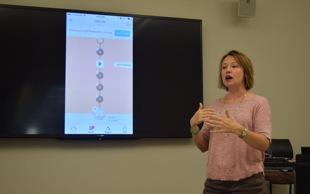 """Psychologist Chris Meno introduces an app called Headspace that we should use to destress. Headspace allows users to """"take 10"""" in order to relax, destress and be mindful. """