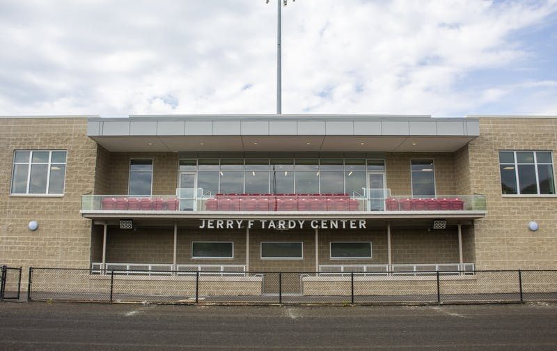 IU Athletics unveiled the new $7 million Jerry F. Tardy Center at Bill Armstrong Stadium to the men's and women's soccer teams Monday. The facility replaces a section of grandstands on the backstretch of the Little 500 track.