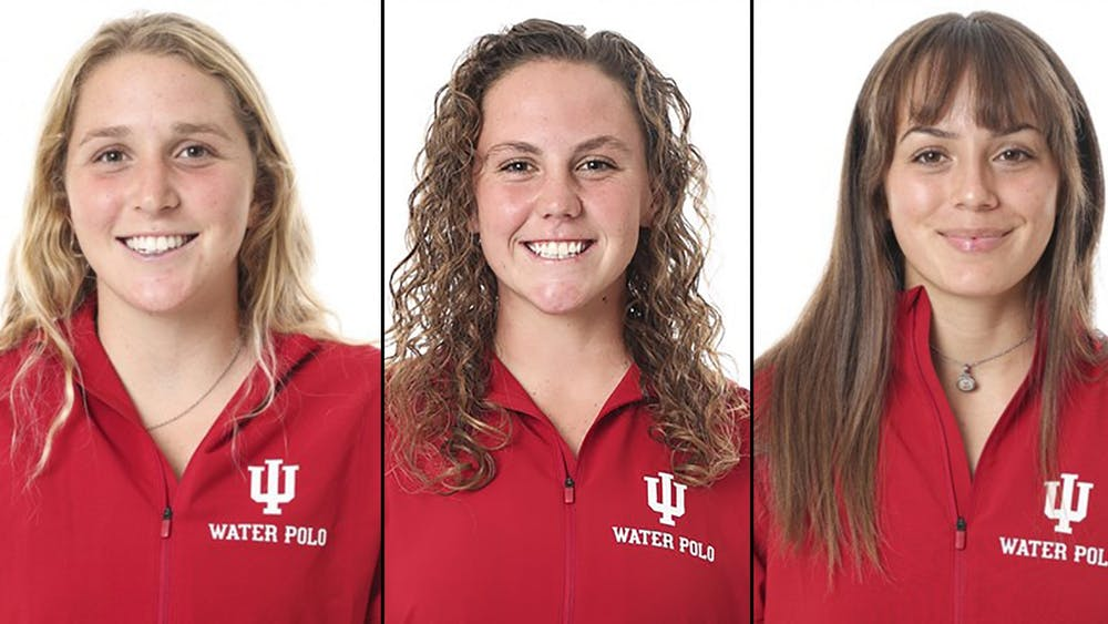 Freshmen Zoe Crouchand, Katherine Hawkins and Lauren Gaudry pose for  headshots. These three water polo team members are  from California.