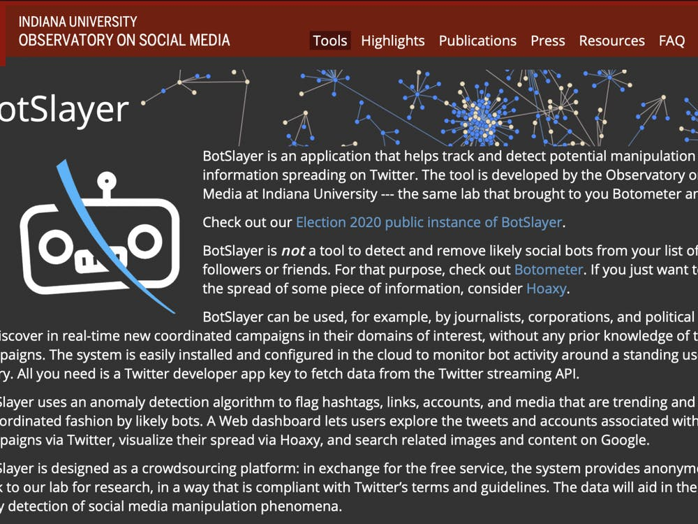 A screen grab from the IU BotSlayer website. BotSlayer is an all-in-one application that scans social media in order to determine if a message is being pushed and popularized by bots.