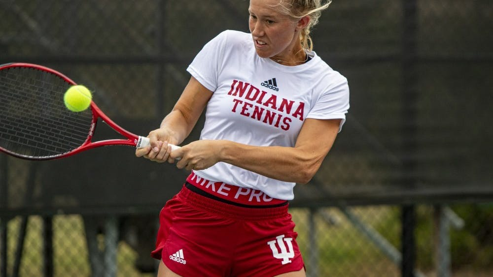 Freshman Lexi Kubas prepares to hit the ball Sept. 29, 2019, at the IU Tennis Center. IU will play the University of Cincinnati and Ball State University on Sunday in Bloomington.