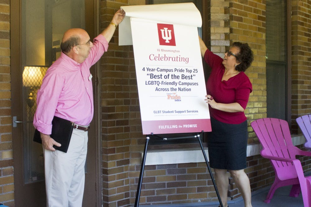 Doug Bauder, Coordinator of GLBT Student Support Services, and Yolanda Treviño, Assistant Vice President of Strategy, Planning, and Assessment for the Office of the Vice President for Diversity, Equity, and Multicultural Affairs, celebrate IU's third year of being named one of the top 25 LGBTQ-friendly campuses last year on Monday, August 24, 2015.