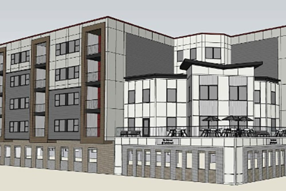 A rendering of The Retreat, a new affordable housing addition next to Switchyard Park, appears. Construction on The Retreat will begin in June.