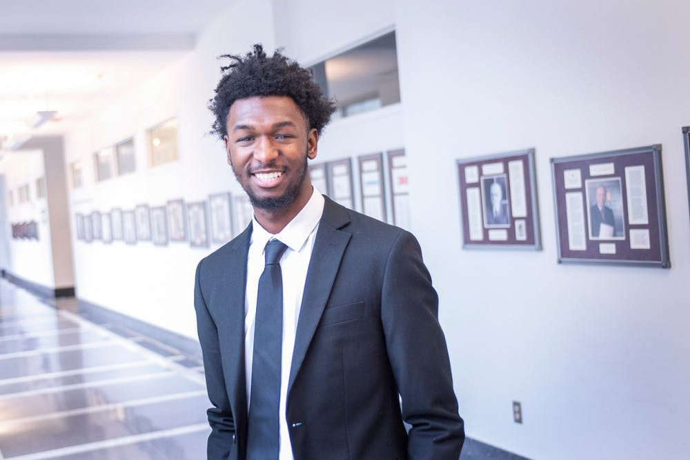 <p>IU sophomore Zachary Harper poses for a photo. Harper is the first IU student to be selected for the Institute for Responsible Citizenship, a prestigious program for African-American men.</p>