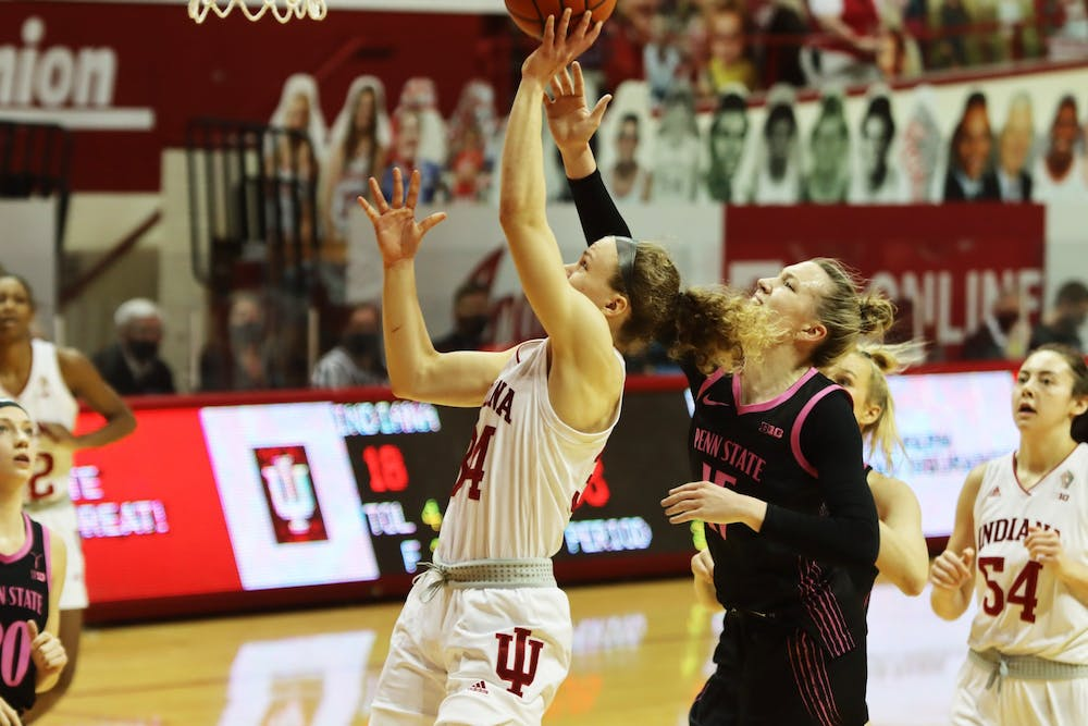 <p>Junior guard Grace Berger shoots a layup Feb. 10 in Simon Skjodt Assembly Hall. The Hoosiers play Michigan on Thursday at home. </p>