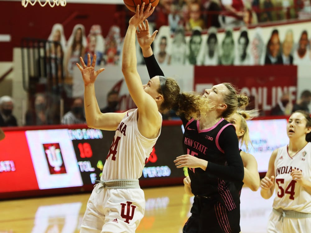 Junior guard Grace Berger shoots a layup Feb. 10 in Simon Skjodt Assembly Hall. The Hoosiers play Michigan on Thursday at home.