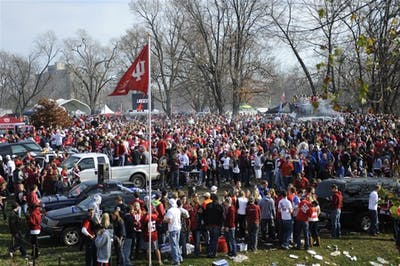 People tailgate Nov. 21, 2009, near Memorial Stadium. IU confirmed Monday it will not permit tailgating during this football season.