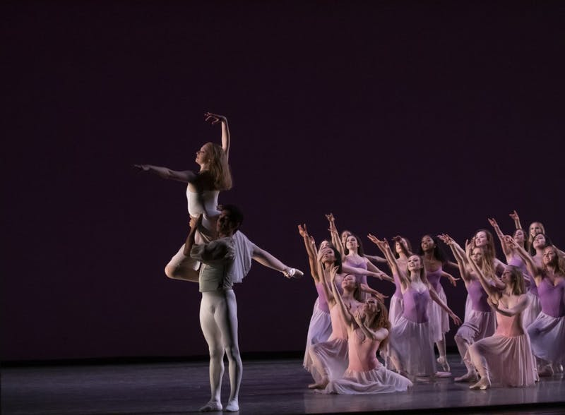 """Dancers hit their final poseMarch 19inside theMusical Arts Center during the dress rehearsal for """"Spring Celebration."""" Ballet department co-chair Sarah Wroth said each day's performance is different and special."""