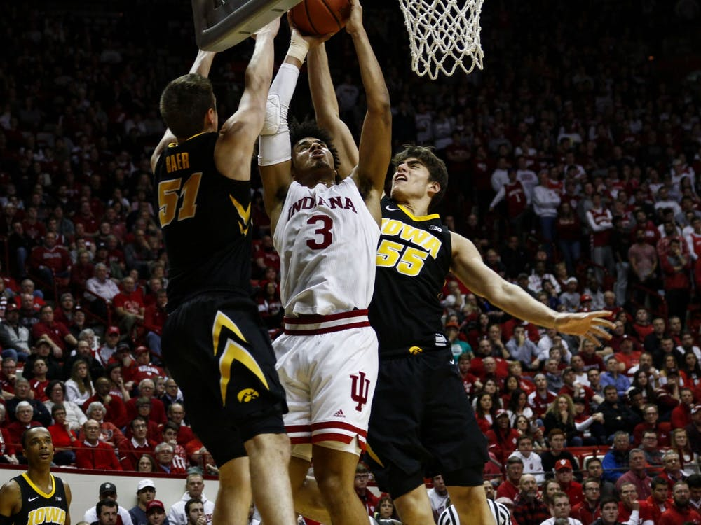 IU forward Justin Smith dunks the ball against University of Iowa on Feb. 7, 2019, at Simon Skjdot Assembly Hall. The Hoosiers will play the Hawkeyes Thursday at 9 p.m.