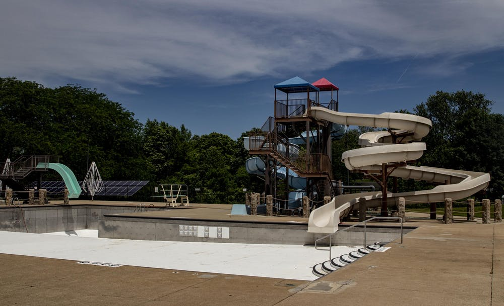 Bryan Park Pool is empty June 8 in Bloomington. Bloomington community pools are closed for the summer due to the coronavirus pandemic.