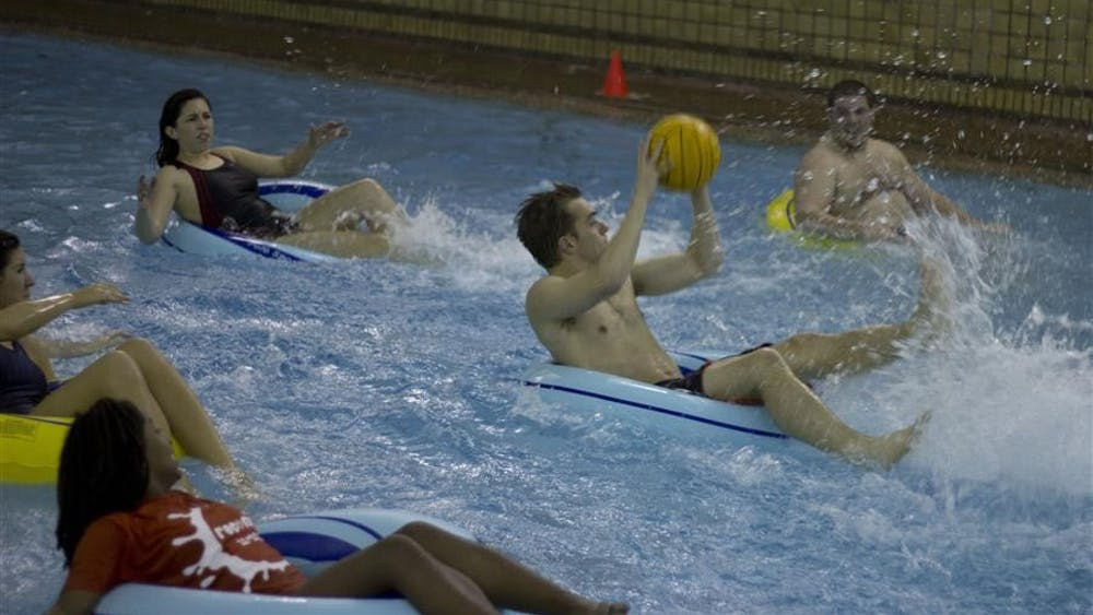 Participants test out inner tube water polo, the newest recreational sport offered at the Student Recreational Sports Center. Campus Recreational Sports proposed the idea for the first aquatic sport offered at the SRSC and it is set to begin Feb. 7.