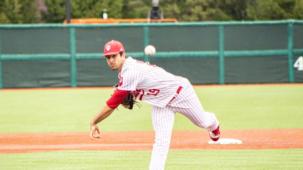 Junior pitcher Tommy Sommer pitches in the first game of a doubleheader against Minnesota on Friday at Bart Kaufman Field. The IU baseball team swept Minnesota in a three-game series this weekend.