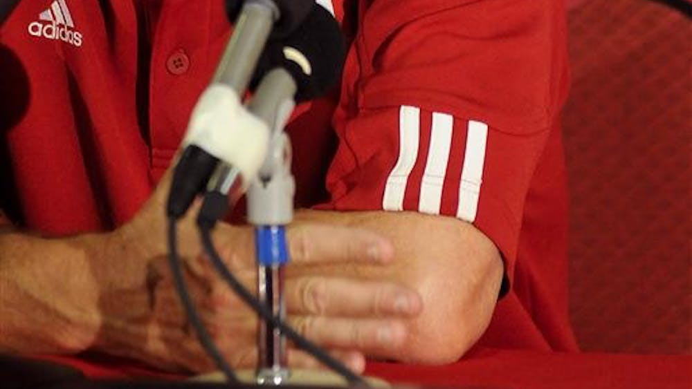 IU football coach Bill Lynch speaks during his weekly press conference on Tuesday at Memorial Stadium. Lynch's 2-4 Hoosiers will take on Illinois on Saturday night in Champaign, Ill.