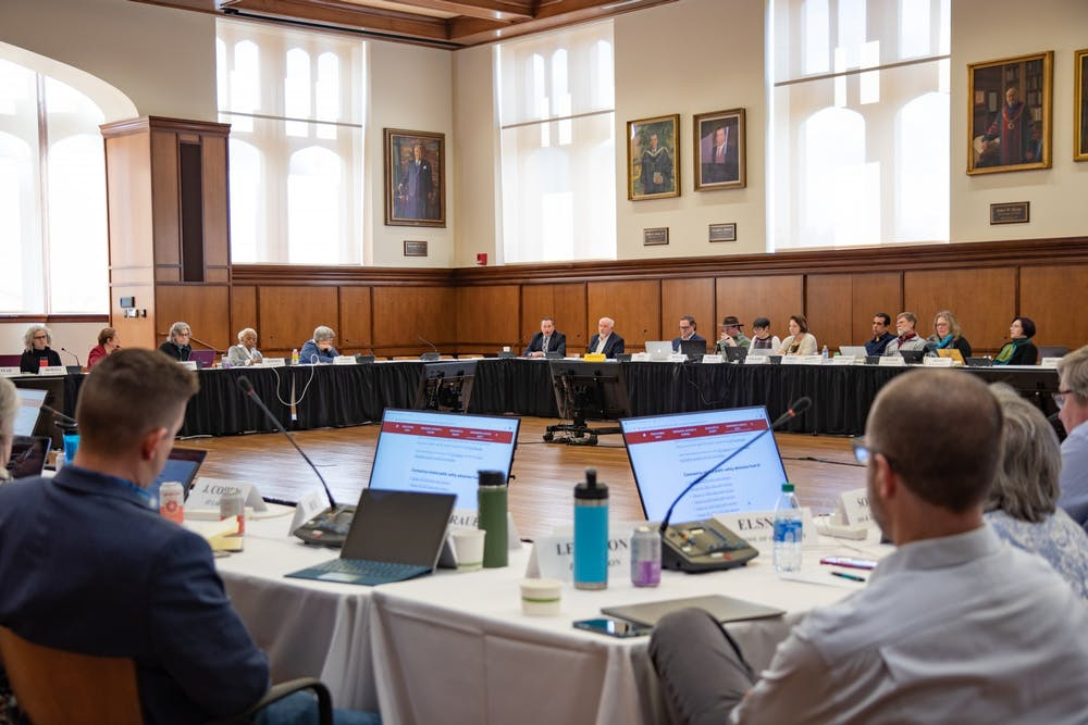 <p>The Bloomington Faculty Council convenes March 3 in Franklin Hall. The council met again Tuesday to hear proposals in support of advocacy for graduate student academic appointees and a new interim suspension policy.</p>