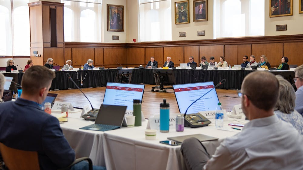 The Bloomington Faculty Council convenes March 3 in Franklin Hall. The council met again Tuesday to hear proposals in support of advocacy for graduate student academic appointees and a new interim suspension policy.