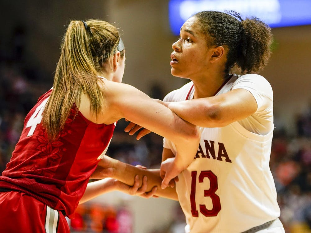 Junior Jaelynn Penn looks for an opening Feb. 16 at Simon Skjodt Assembly Hall. IU will play Minnesota on Feb. 22 in Minneapolis.
