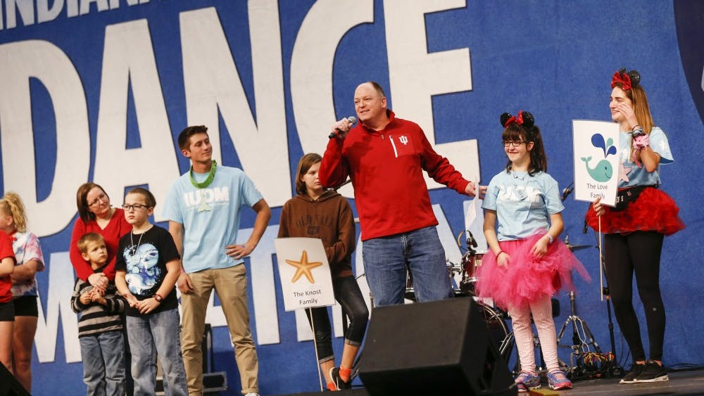 The Love family talks during the 2017 Indiana University Dance Marathon on Friday at the IU Tennis Center. The annual fundraiser raises money for IU Health Riley Children's Hospital in Indianapolis. IUDM raised over 4.15 million dollars in 2016.