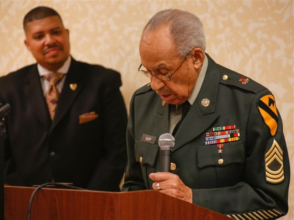 Gene Shipp speaks after having received the Living Legend award on Saturday at Hilton Garden Inn. Shipp served in the U.S. Army from 1942 to 1971 and was recognized for his service.