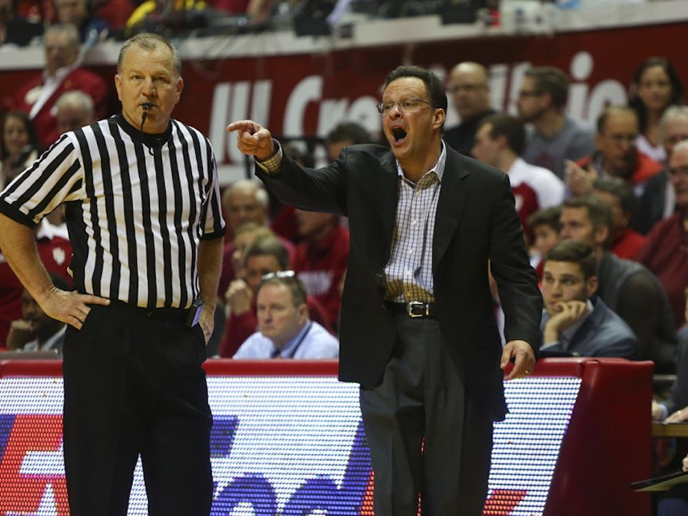Indiana University coach Tom Crean disputes a call in the Hoosiers game against the Michigan Wolverines Sunday.