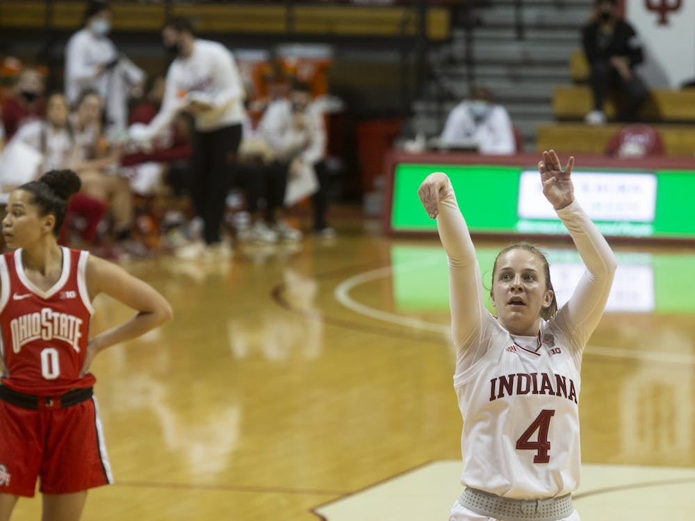 Senior guard Nicole Cardaño-Hillary shoots the ball during a game against Ohio State on Jan. 28. Cardaño-Hillary transferred to IU during the COVID-19 pandemic.
