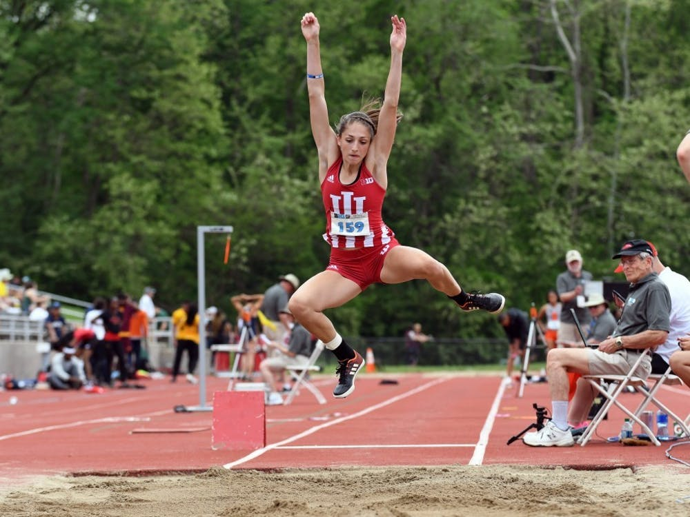 Thensophomore, now senior Leah Moran competes in the long jump during last year's Big Ten Outdoor Track and Field Championships at Robert C. Haugh Track and Field Complex.  IU will compete in the Meyo Invitational on Feb. 7-8 in South Bend, Indiana.