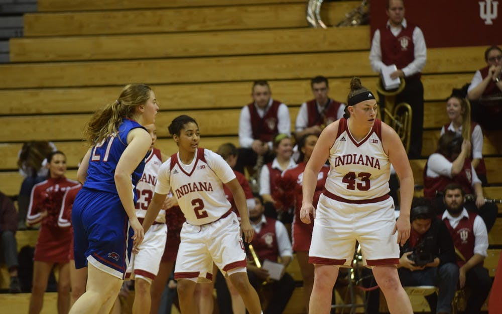 Jenn Anderson plays defense against UMass Lowell, Wednesday afternoon. IU defeated the River Hawks 79-45.