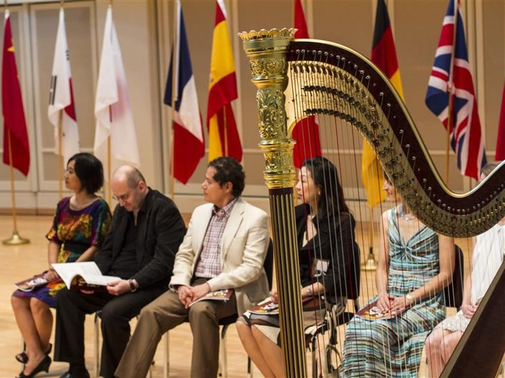Opening remarks are given at the Opening Ceremony of the 9th USA International Harp Competition in Auer Hall Wednesday. The competition will take place in the Jacobs School of Music from July 10-20.