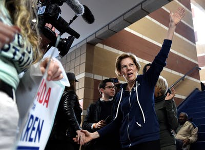 Democratic presidential candidate Sen. Elizabeth Warren, D-Mass., waves to caucus goers Feb. 22 at Coronado High School.