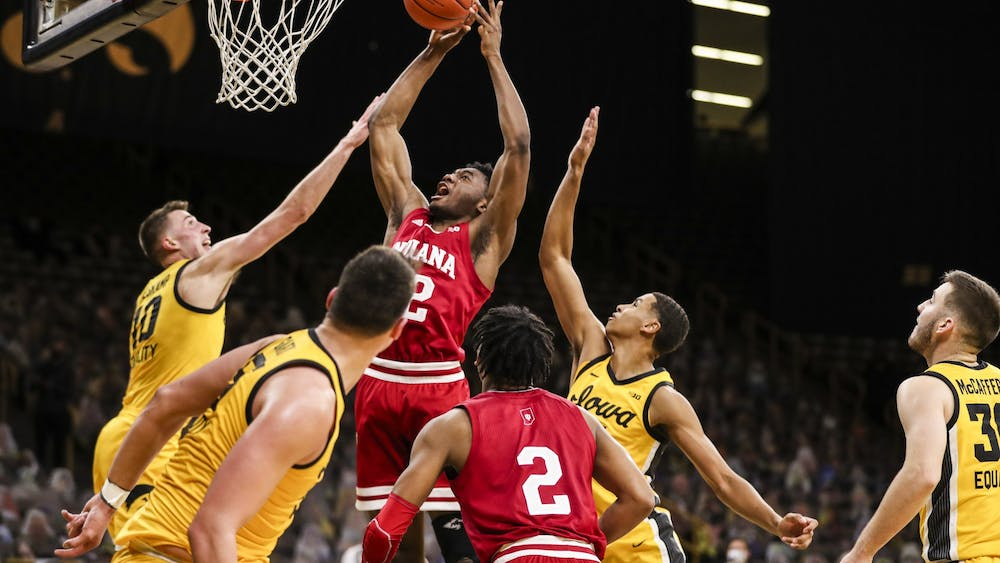 Freshman forward Jordan Geronimo makes a jump shot Jan. 21 at Carver-Hawkeye Arena in Iowa City, Iowa. The Hoosiers beat the Hawkeyes 81-69 on the road.
