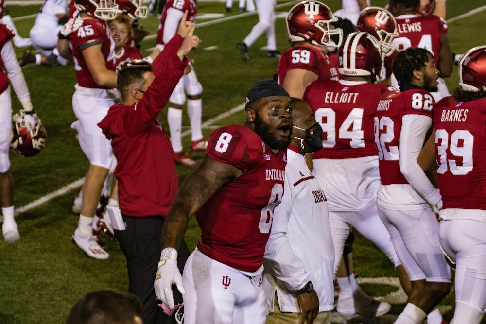 <p>Junior running back Stevie Scott III screams after IU beat Penn State University in overtime Oct. 24 in Memorial Stadium. Scott scored two touchdowns in the first half against Penn State.</p>