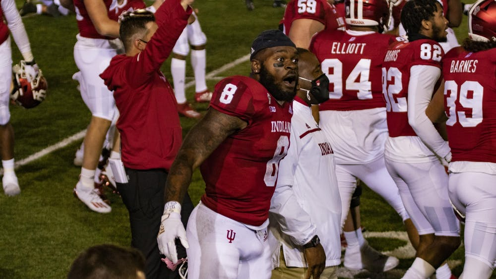 Junior running back Stevie Scott III screams after IU beat Penn State University in overtime Oct. 24 in Memorial Stadium. Scott scored two touchdowns in the first half against Penn State.