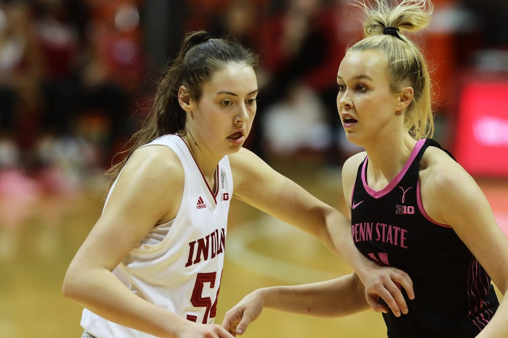 <p>Sophomore forward Mackenzie Holmes defends an opponent Feb. 10 at Simon Skjodt Assembly Hall. Holmes scored 14 points Monday against Virginia Commonwealth University in the first round of the NCAA Tournament in San Antonio, Texas. </p>