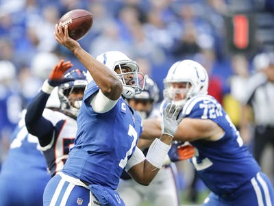 Indianapolis Colts quarterback Jacoby Brissett throws the ball Oct. 27 against the Denver Broncos at Lucas Oil Stadium in Indianapolis.