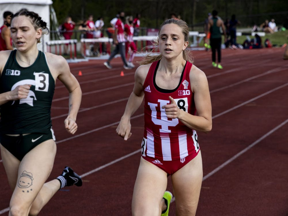 Senior Joely Pinkston runs in the women's 800-meter run during the Big Ten Indiana Invitational on April 9 at the Robert Haugh Track and Field Complex. The IU track team won four relay events Saturday at the Fighting Illini Big Ten Relays in Champaign, Illinois.