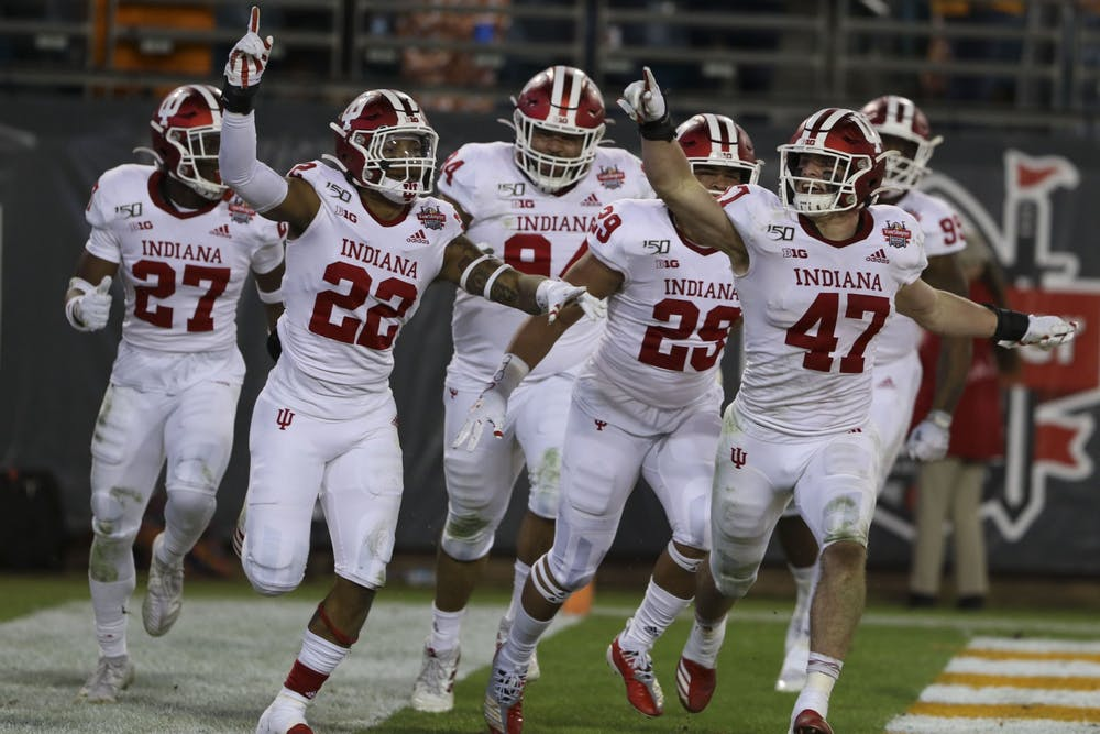 <p>IU's defense celebrates after then-sophomore Jamar Johnson scored a touchdown off of an interception Jan. 2 at the Tax Slayer Gator Bowl in Jacksonville, Florida. IU received 19 points in the preseason AP Poll and was the seventh-highest ranked Big Ten team.</p>