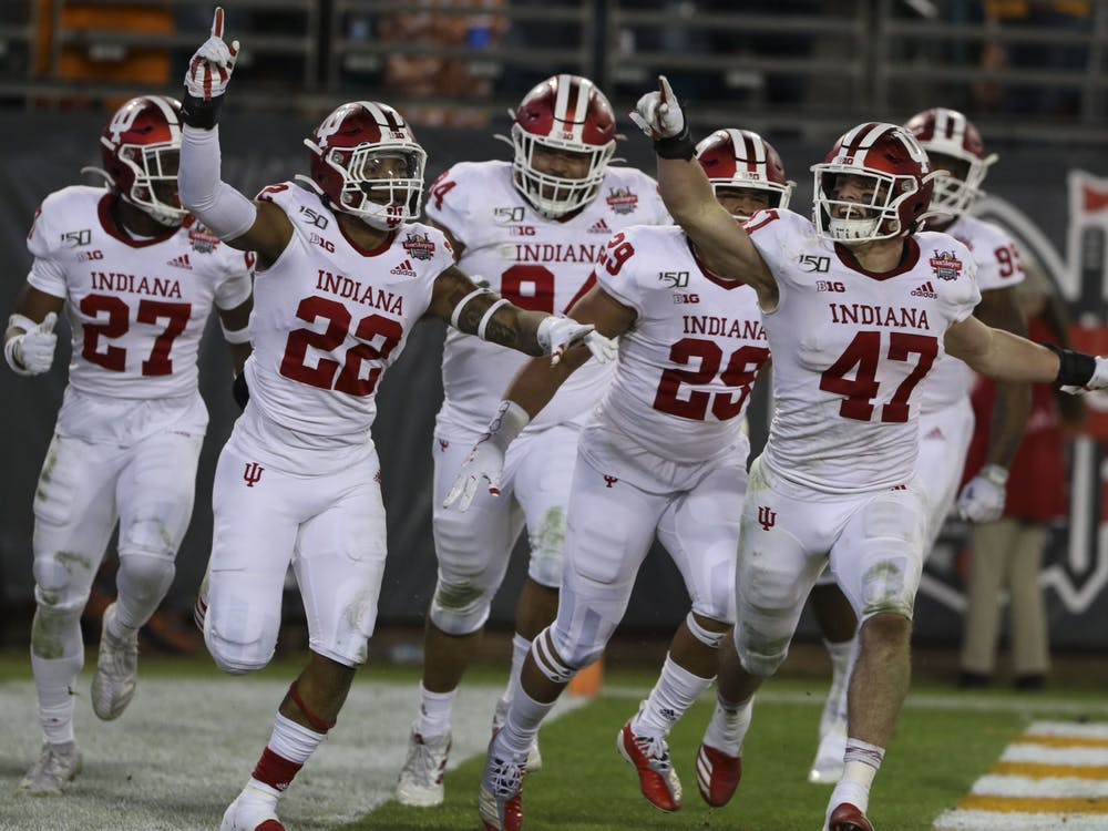 IU's defense celebrates after then-sophomore Jamar Johnson scored a touchdown off of an interception Jan. 2 at the Tax Slayer Gator Bowl in Jacksonville, Florida. IU received 19 points in the preseason AP Poll and was the seventh-highest ranked Big Ten team.