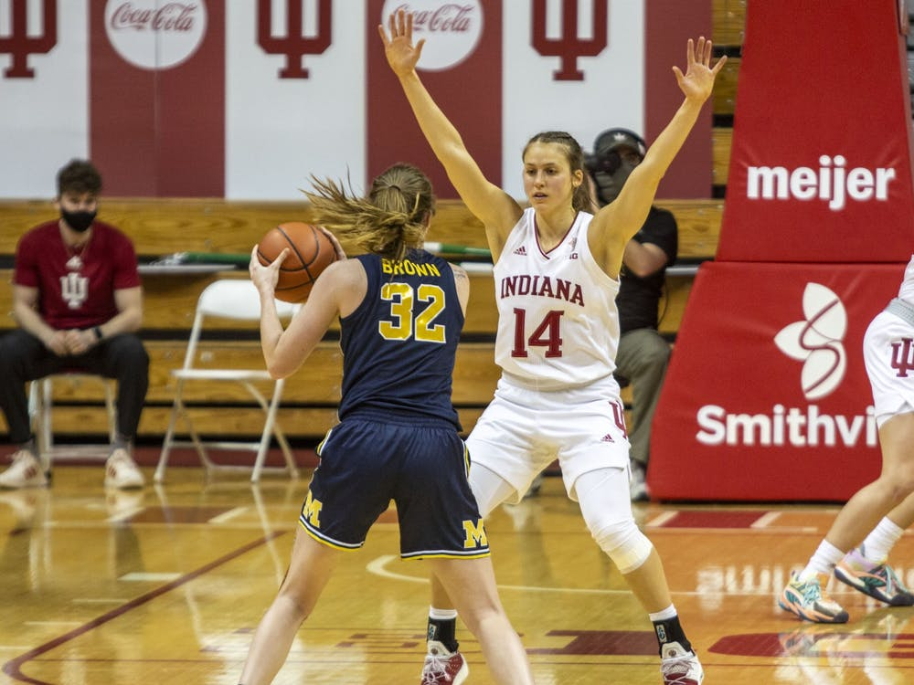 Redshirt senior guard Ali Patberg plays defense Feb. 18 in Simon Skjodt Assembly Hall. No. 11 IU beat No. 15 Ohio State on Saturday in Columbus, Ohio.