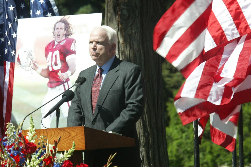<p>Sen. John McCain, R-Arizona, addresses a memorial service for Pat Tillman on May 3, 2004, at the Rose Garden in San Jose, California.</p>