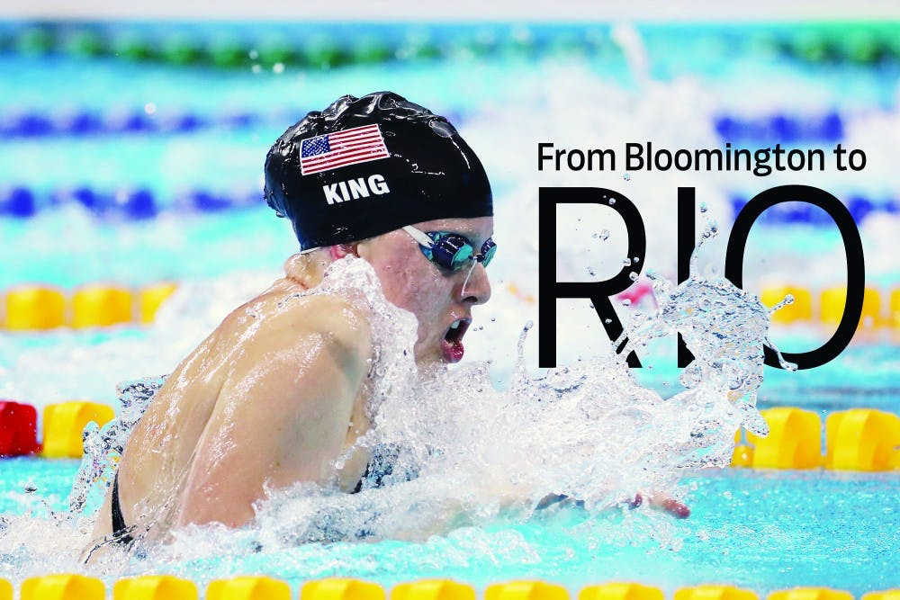U.S. swimmer Lilly King swims to a gold medal in the women's 100-meter breaststroke on Monday, Aug. 8, 2016 at the Olympic Aquatic Stadium in Brazil. (Robert Gauthier/Los Angeles Times/TNS)