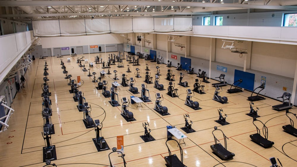 Cardio equipment lines courts that were once used for playing basketball Oct. 4, 2020, at the Student Recreational Sports Center. The SRSC will reopen Sunday with limited hours and regimented cleaning of doors, handrails, locker rooms and bathrooms.